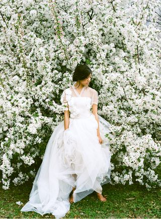 Reem Acra Tulle Wedding Dress Cherry Tree once wed shoot