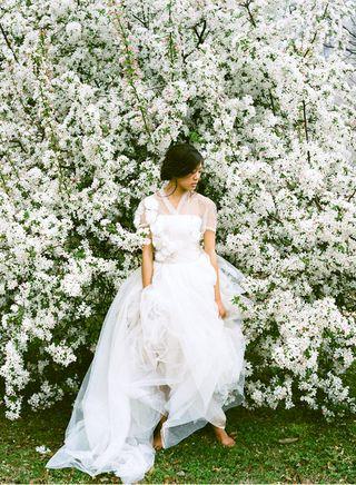 Reem Acra Tulle Wedding Dress Cherry Tree once wed shoot