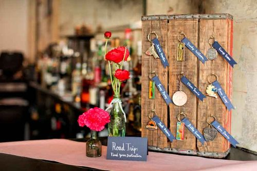 souvenir-escort-card-keychain-inspiration-ranunculus-road trip-wedding