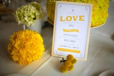 Wedding-program-yellow-and-white