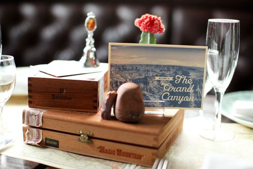 vintage-decor-Arizona-Grand Canyon-cigar box-wedding