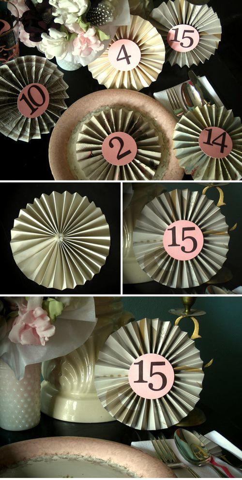 Diy-table-number-horse-ribbon-paper-wheel