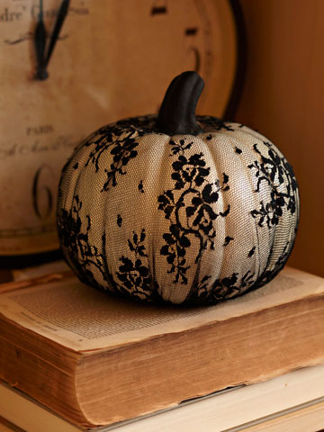 Want a vintage feel Add lace to a pumpkin for a nostalgic flashback