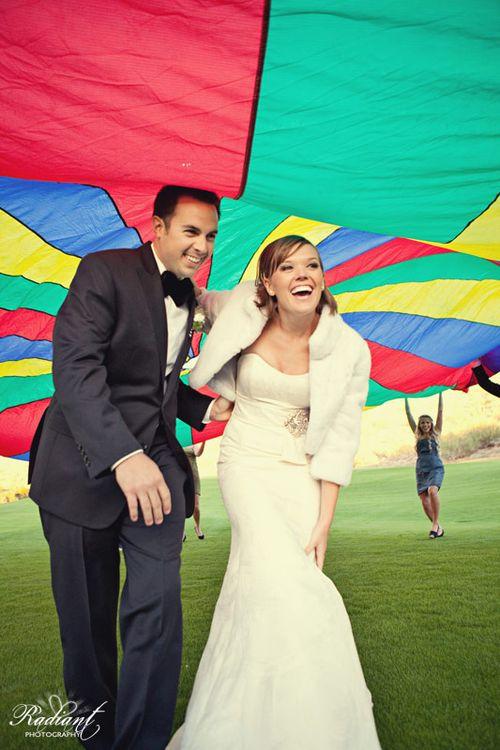 Parachute-at-wedding-rainbow