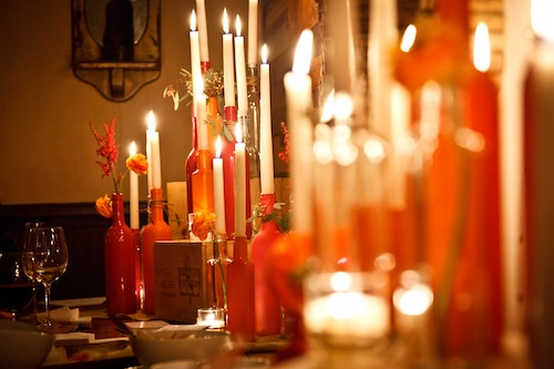 Wine-bottles-with-candles- tapers