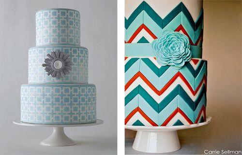 patterned-cakes-chevron-cake-colorful-cakes