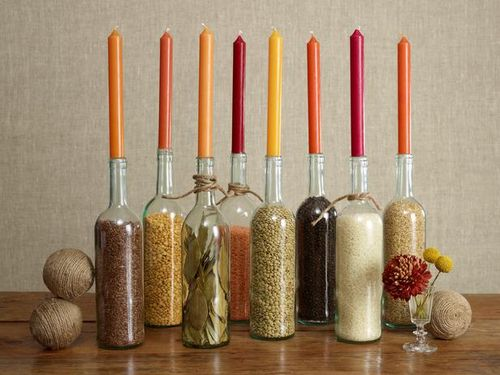 Wine-bottle-thanksgiving-center-pieces-filled-with-rice-grain-herbs-thanksgiving-centerpieces
